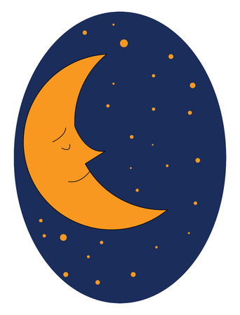 Brown-colored cartoon moon with sharp nose dreams while sleeping and appears against a dark-blue background with brown dots vector color drawing or illustration