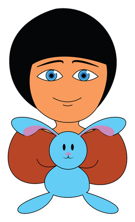 A little girl with black hair and blue eyes holding a stuffed blue bunny vector color drawing or illustration Ilustração