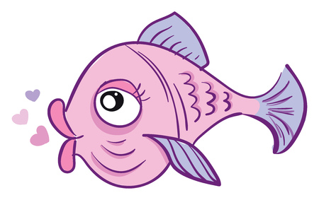 A pink-colored love fish with heart shape bubbles over white background is with big eyes and purple-colored fins and gills vector color drawing or illustration Illustration