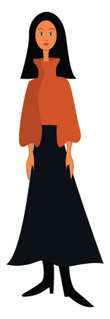 A girl with long black hair wearing a brown sweater long black skirt and a pair of black boots vector color drawing or illustration Illustration