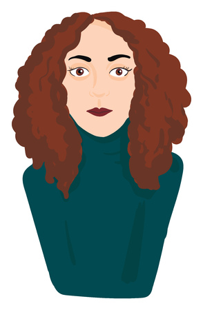 A woman with curly brown hair brown eyes lips wearing a blue sweater vector color drawing or illustration