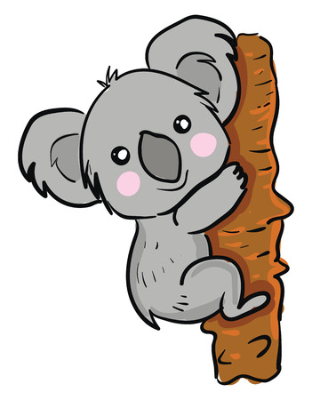 A cute little cartoon Koala climbing up the tree with a broad smile on its face vector color drawing or illustration