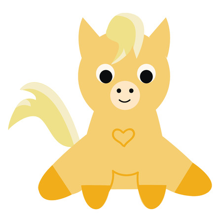 A yellow-colored cute little poni is smiling and has a heart printed in its costume vector color drawing or illustration