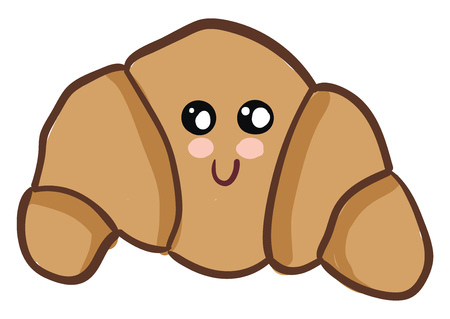 A light brown croissant placed on a table with a smiley face vector color drawing or illustration 向量圖像
