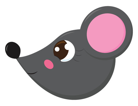 The side face of a cute little cartoon grey-colored mouse with a projecting black-colored nose and rose-colored ears is smiling vector color drawing or illustration Иллюстрация