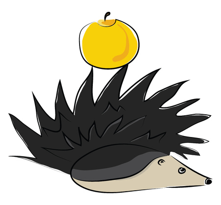 Cute little cartoon hedgehog with a yellow color apple stuck on its spine lies in the forest ground vector color drawing or illustration