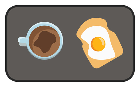 A black tray serving a cup of coffee a slice of toasted bread with a sunny side up egg on the toast vector color drawing or illustration Ilustracja