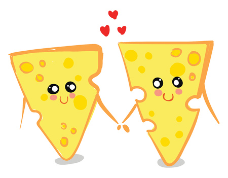 Two yellow-colored love cheese holding hands together are with smiling eyes and a broad closed smile turning up to rosy cheeks while standing vector color drawing or illustration