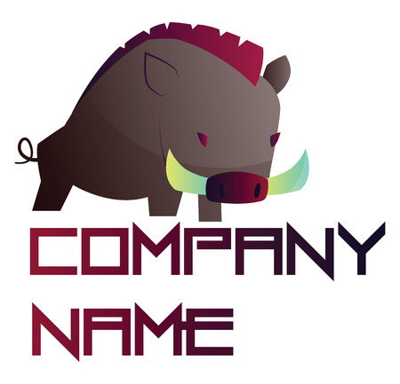 Simple vector logo design of a wild boar with blank purple text on white background