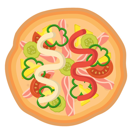 Pizza with ketchup and mayonnaise Print illustration vector on white background Ilustração