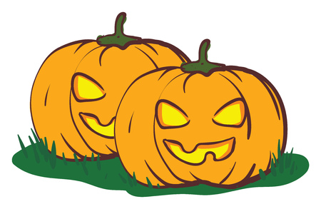 Two scary look alike pumpkins with yellow eyes vector color drawing or illustration Ilustração