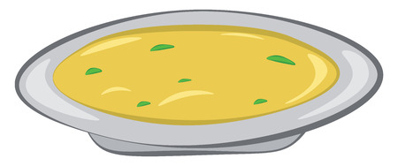 A white-colored bowl with delicious and yummy omelet garnished with coriander leaves vector color drawing or illustration