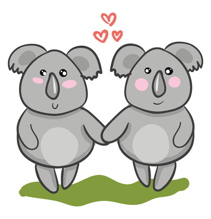 Two cartoons Koalas holding hands as they stand in a green grassland symbolizes love vector color drawing or illustration