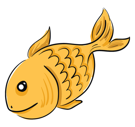 A golden fish with black eyes swimming freely in the river vector color drawing or illustration