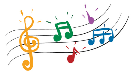 Cartoon multi-colored musical notes in red yellow blue green and purple colors vector color drawing or illustration