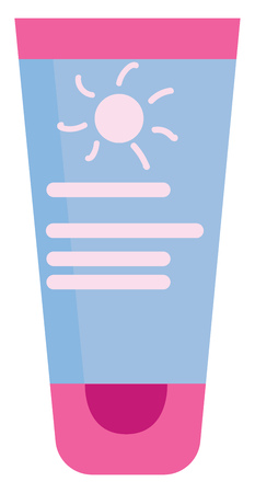 A multi-colored sunscreen lotion in pink blue and white colors stands with the cap resting on the surface or table vector color drawing or illustration