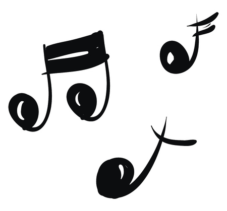 Black and white-colored cartoon musical notes that represent modern musical notation vector color drawing or illustration