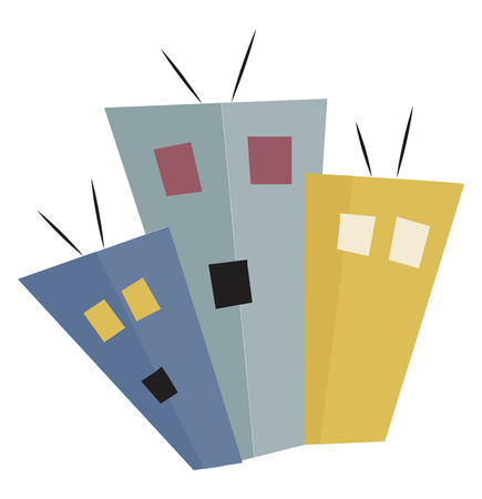 A set of three buildings with three windows and two antennas each vector color drawing or illustration  イラスト・ベクター素材