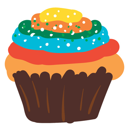 A small domed spongy multi-colored cup-cake made with eggs and baking powder is of several layers and is undoubtedly yummy and delicious vector color drawing or illustration