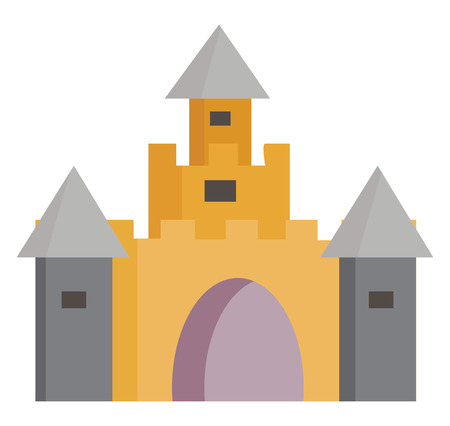 Yellow and grey castle with cone-shaped grey roofs a large entrance and many windows vector color drawing or illustration