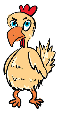 A chicken with blue eyes orange beak and legs red comb and wattles and an angry expression on the face vector color drawing or illustration 向量圖像