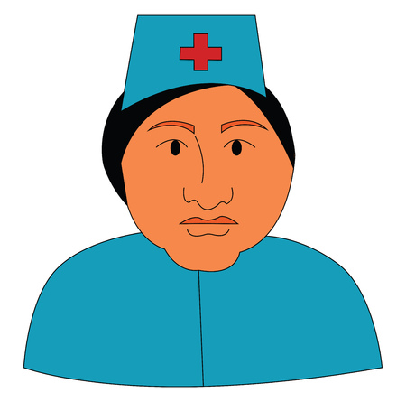 A nurse at the hospital dressed in her blue-colored uniform with a plus sign printed in her cap vector color drawing or illustration Stock Illustratie