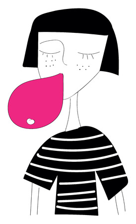A girl with short black hair and closed eyes wearing a black shirt with white stripes is chewing pink bubble gum vector color drawing or illustration Ilustração