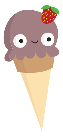 A purple-colored cone ice cream disguised as a girl with bulging eyes and a strawberry hair clip on her head look so amazing vector color drawing or illustration