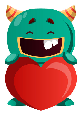Green monster sharing love vector illustration