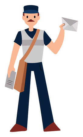 Postman character vector illustration on a white background Ilustração