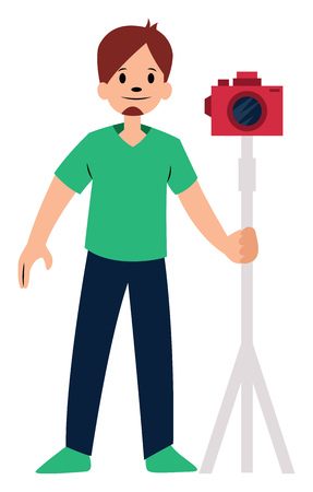 Photographer with red camera character vector illustration on a white background