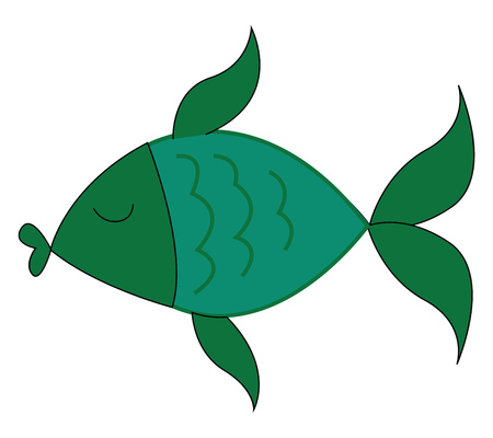 A green fish with eyes closed swimming in the water vector color drawing or illustration