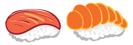 Clipart of sushi popular Japanese dish made from seasoned rice with fish egg or vegetables vector color drawing or illustration