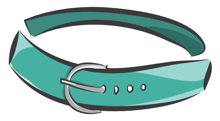 A teal green belt with a metal belt having four holes vector color drawing or illustration 일러스트