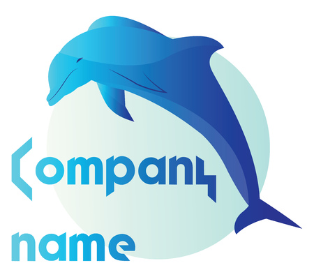 Simple vector logo design on white background of a blue dolphine