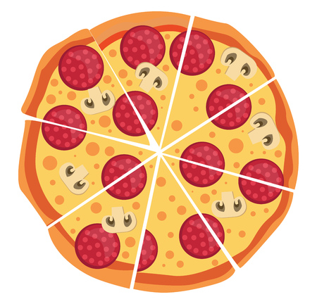 Pepperoni and mushroom pizza illustration vector on white background
