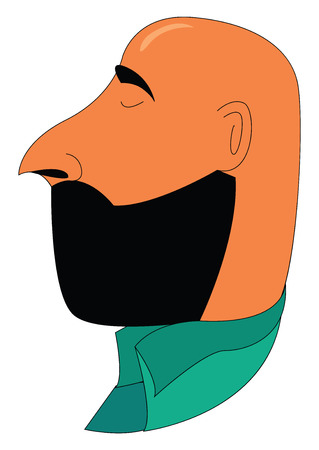 A bald brown man with a full face beard and pointed nose is wearing a green shirt and closing his eyes vector color drawing or illustration  일러스트