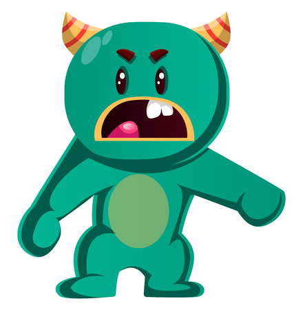 Green monster is angry with you vector illustration Çizim