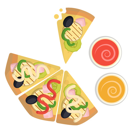 Vegetarian pizza with dips illustration vector on white background 일러스트
