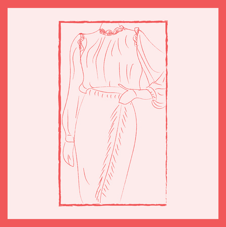 A framed picture of a lady wearing a pink gown with full sleeves turtle neck and frill detail on the neck and shoulder area vector color drawing or illustration