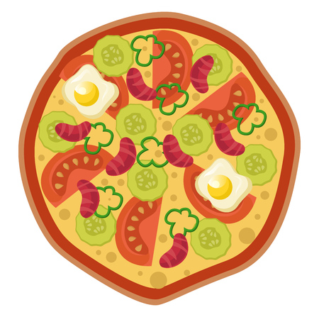 Pizza with veggies and eggsPrint illustration vector on white background Фото со стока - 123411759