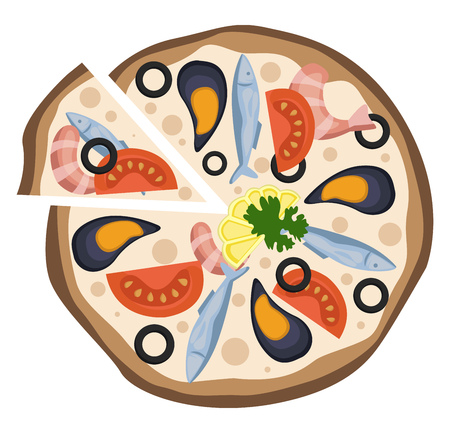 Seafood pizza illustration vector on white background