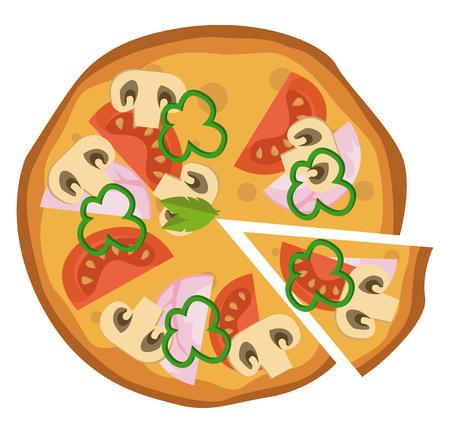 Hammushroom and tomato pizza illustration vector on white background