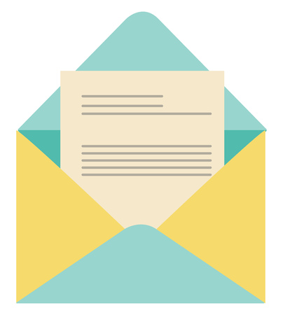 A colorful envelope in blue and yellow combination is left opened enclosed with the letter that contains few lines vector color drawing or illustration Ilustrace