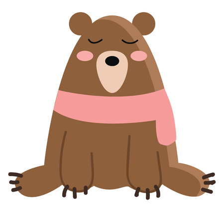 A big brown bear wearing a pink scarf is sitting on the ground with its eyes closed vector color drawing or illustration Imagens - 123411769