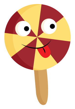 A colorful circular-shaped lollipop has eight segments of alternate red and yellow triangles and a brown-colored flat stick It has big eyes and tongue hanging outside vector color drawing or illustration Zdjęcie Seryjne - 123411774