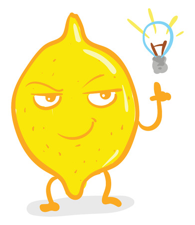 A small genius lemon with great ideas vector color drawing or illustration Illustration