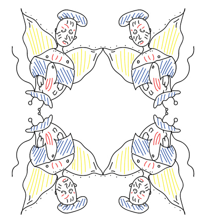 A cartoon frame of four angles with two of them inverted at the bottom wearing blue and red clothing having yellow wings and blue cap vector color drawing or illustration Çizim