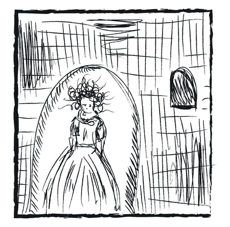 A pencil sketch of a girl with curly hair wearing a gown and living in an old castle vector color drawing or illustration
