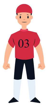 Football player in red and black vector illustration on a white background